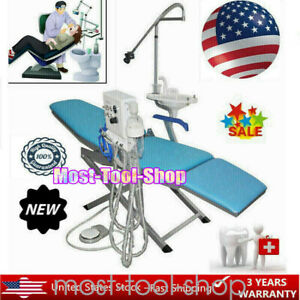 Folding Dental Portable Chair Led Light Turbine Unit Water Supply Weak Suction