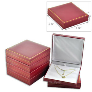 Lot Of 6 Classic Red Leatherette Necklace Gift Box Large Jewelry Box