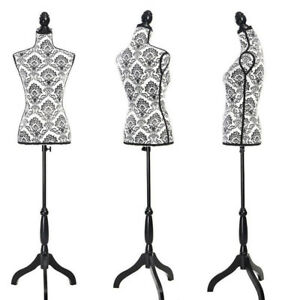 Female Mannequin Torso Dress Form Display W Tripod Stand Black Decorative Foam