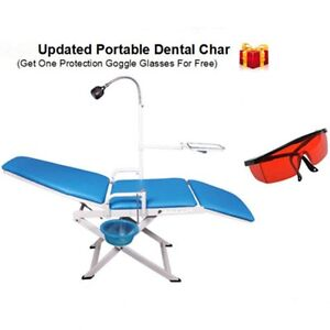 Portable Dental Chair Mobile Unit Led Light Cuspidor Tray Dentistry Glasses