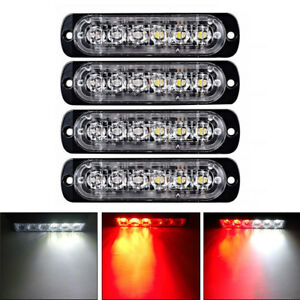 4x Red Whte 6 Led Car Truck Emergency Beacon Warning Hazard Flash Strobe Light