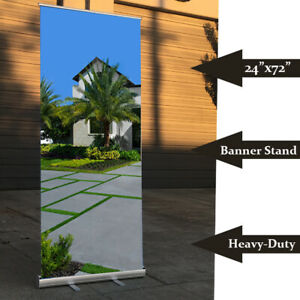 2 Pack 24 X 72 Retractable Roll Up Trade Show Display Banner Stand Adjustable