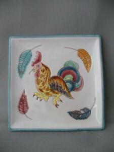Vtg Italian B Altman Co Art Pottey Hand Painted Rooster Chicken Tile Tray Plaque