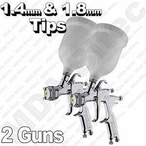 2 X Devilbiss Flg 5 Gravity Spray Paint Guns 1 X 1 4mm 1 X 1 8mm Tips