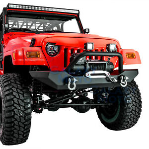 Rock Crawler Front Bumper Winch Plate 2pcs D Rings For 97 06 Jeep Wrangler Tj