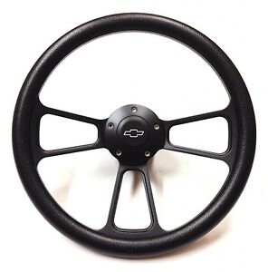 14 Forever Sharp Black Billet Aluminum Steering Wheel W Engraved Chevy Horn