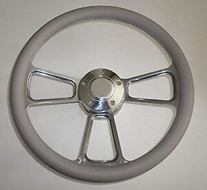 Gray Half Wrap 14 Billet Steering Wheel Kit With Hub Adaptor Horn Button New