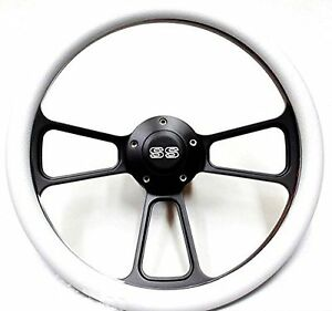 1967 1968 Chevelle 14 Billet White Black Steering Wheel Chevy Ss Horn Adapter