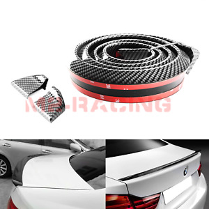 60 Universal Glossy 3d Carbon Fiber Trunk Spoiler Wing Rear Roof Tail Lip Trim