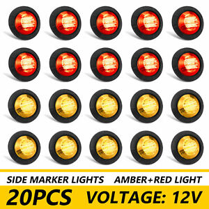 20x Smoked Round Side Marker Lights Truck Trailer Amber Red 3 4 Led Bullet Light