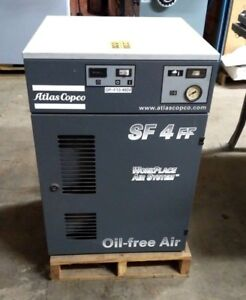 Atlas Copco Sf4ff 5 hp Tankless Oil free Mono Scroll Air Compressor