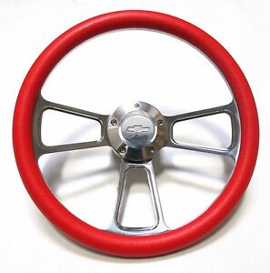 1969 1994 Chevelle Steering Wheel Chrome Red With Chevy Horn Adapter