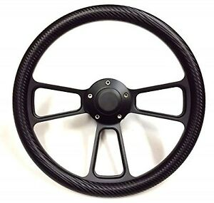 1968 1982 Corvette Black Billet Black Carbon Fiber Steering Wheel Full Kit