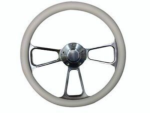 14 Foreversharp Billet Aluminum White Half Wrap Muscle Steering Wheel