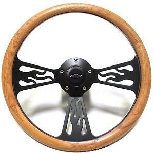 Chevy Hot Rod Rat Rod Truck Steering Wheel Oak Wood Flames Design Black Billet