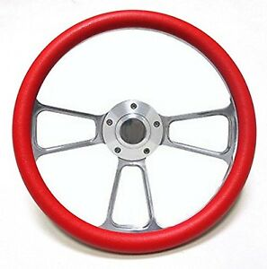 Hot Rod Street Rod Rat Rod Truck Red Polished Billet Steering Wheel Horn