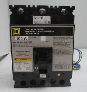 Square D Fhl3610016dc2350 Circuit Breaker 3 Pole 100 Amps 600 Volts New Sealed