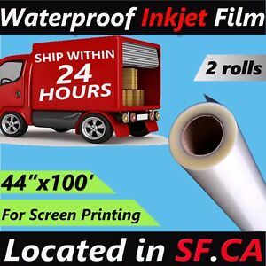 2 Rolls 44 x 100 waterproof Inkjet Transparency Film Paper Silk Screen Printing