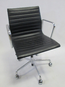 Genuine Herman Miller Eames Aluminum Management Chair In Black W Pneumatic Lift