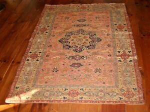 Antique Pictorial Anatolian Sivas Hand Made Wool Oriental Area Rug 62 X 48