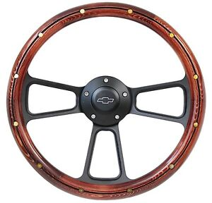 New World Motoring 14 Real Pine Wd Steering Wheel W Black Chevy Horn For An