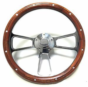 Impala Nova Super Sport Chrome Mahogany Steering Wheel Ss Logo Engraved Horn