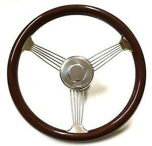 15 Real Wood Stainless Steel Banjo Steering Wheel W Polished Horn Button
