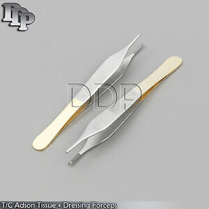 12 T c Adson Tissue 1x2t dressing Forceps 4 75 With Tungsten Carbide Inserts