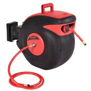 Red 100ft Air 300 Psi Compressor Retractable Auto Rewind Garage Hose Reel Tools