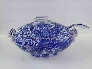 Brown Westhead Moore 1878 Blue And White Tureen And Ladle Japan Pattern