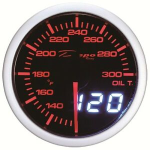 52mm Depo Racing Digital Oil Temperature Gauge White Red Smoked Wa5247led