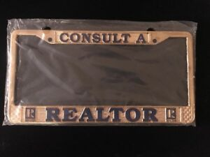 Real Estate Metal License Plate Gold Frame Made In The Usa Consult A Realtor