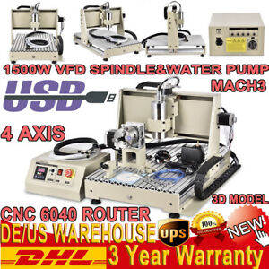 Usb 4 Axis 6040 1500w Vfd Cnc Router Engraver Engraving Milling Carving Machine