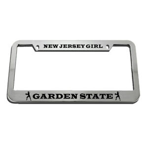 License Plate Frame New Jersey Girl Garden State Zinc Chrome
