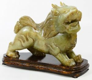 Hand Carved Jadeite Jade Foo Dog 8 H X 10 5 L X 3 25 W Heavy 13 4 Lbs
