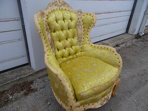 Antique French Carved Wing Type Chairs Orig Newly Reupholstered Pattern Fabri
