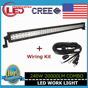 42in 240w Led Work Light Bar Combo Cree 4wd Atv Jeep Offroad Ute With Wiring K
