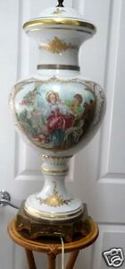 Antique French Hand Painted Signed And Hallmarked Porcelain Lamp