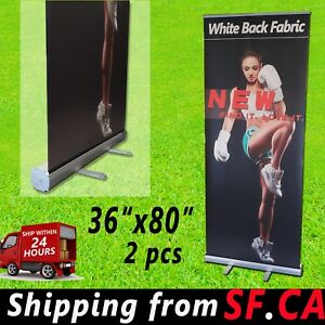 2 Pcs 36 x 80 Retractable Banner Stand roll Up Trade Show Pop Up Display Stand