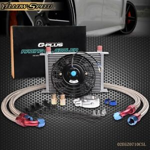 Universal 25 Row 10an Engine Transmission Oil Cooler Kit 7 Electric Fan Kit