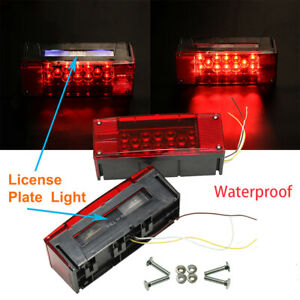 Universal 2 Red Led Waterproof Trailer Boat Rectangle Stud Stop Turn Tail Light