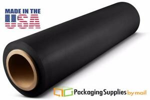 Hand Stretch Film 15 X 1500 Black Shrink Plastic Wrap For Moving 80 Ga 28 Rls