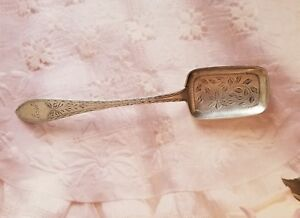 Christian F Heise Silver Serving Spoon Unusual Rectangular Shape Nice