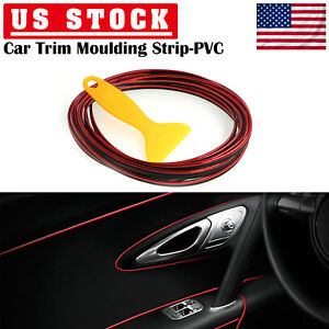 Red 5m Flexible Trim Moulding Strip Decorative Line Car Interior Exterior Usa
