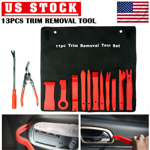 13pc Trim Removal Pry Bar Tool Panel Door Clip Open Remover Kit Upholstery Seal