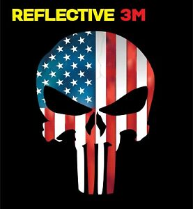 Reflective 3m Punisher Skull American Flag Sticker Decal Sniper Truck Usa Made