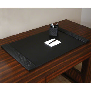 Classic Woven Black Leather Desk Blotter Pad Office Desktop Traditional