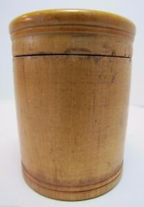 Old Wooden Treen Lidded Jar Container Wood Spice Medicine Small Pantry Box