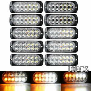 10x Surface Mount Amber White 36w 12 Led Warning Emergency Flashing Strobe Light
