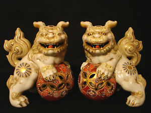 7 1 4 H Unmarked Japanese Showa Period Kutani Temple Lion Shishi Foo Dog